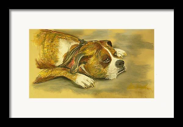 Dog Art Framed Print featuring the pastel Sunday Arts Fair Dog In A Mood by Deborah Willard