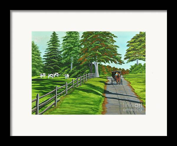 Cows Framed Print featuring the painting Sunday Drive by Charlotte Blanchard