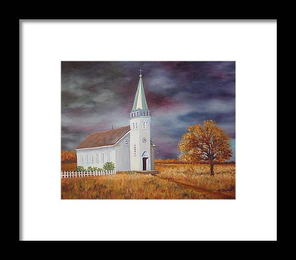Landscape Framed Print featuring the painting Sunday Go To Meetin' by Maxine Ouellet