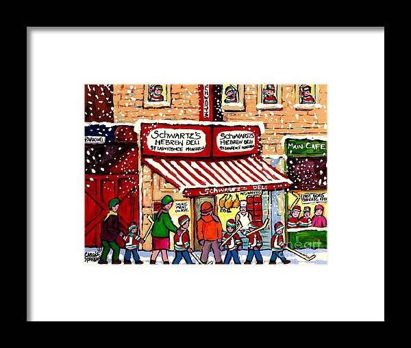 Montreal Framed Print featuring the painting Sunday Lineup at the Deli by Carole Spandau