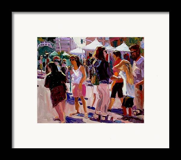 Landscape Paintings Framed Print featuring the painting Sunday Market by Brian Simons