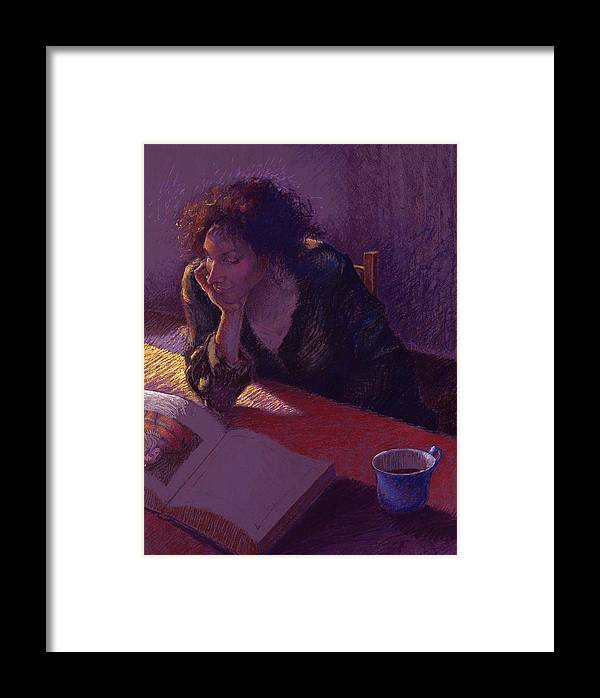 Woman Framed Print featuring the painting Sunday Morning by Ellen Dreibelbis