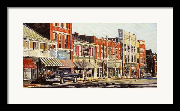City Scene Framed Print featuring the painting Sunday Morning by Thomas Akers