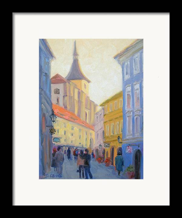 Prague Framed Print featuring the painting Sunday Stroll - Prague by Bunny Oliver