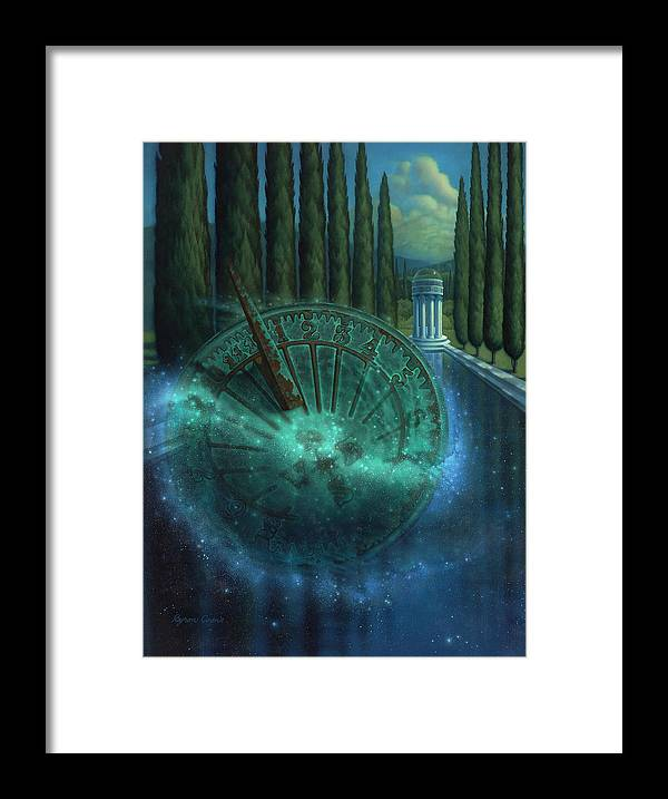 Sundial Framed Print featuring the painting Sundial Of Antiquity by Brigit Byron Coons