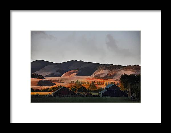 Barns Framed Print featuring the digital art Sundown At The Ranch by Patricia Stalter
