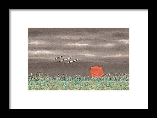 Contemporary Abstract Landscape Coastal Seascape Setting Sun Sunset Ocean Nature Reeds Seagulls Moody Shoreline Florida Caribbean Tropical Framed Print featuring the painting Sundown by Gordon Beck