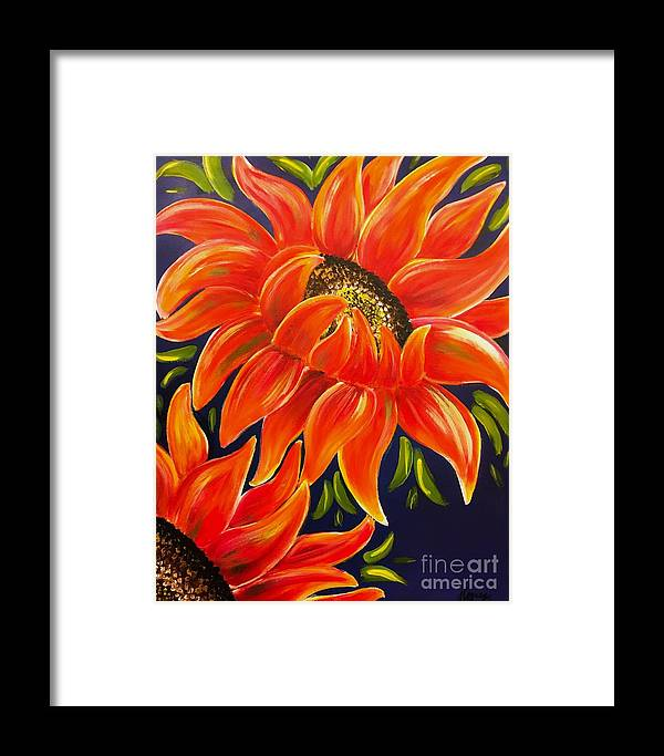 Sun Flowers Framed Print featuring the painting Sunflora by Go Inspire Beauty