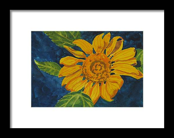 Sunflower Framed Print featuring the painting Sunflower - Mini by Libby Cagle