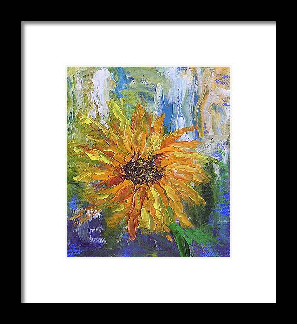 Sunflower Framed Print featuring the painting Sunflower Abstract by Barbara Harper