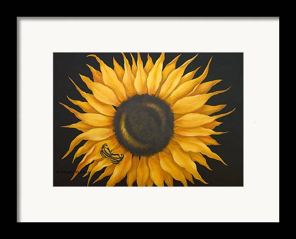 Floral Framed Print featuring the painting Sunflower And Butterfly by Ruth Bares