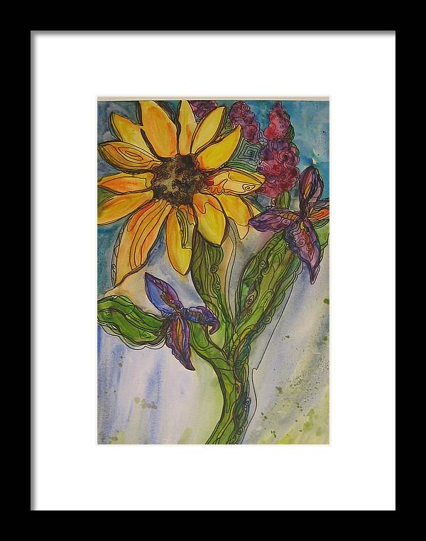 Floral Framed Print featuring the painting Sunflower And Friends by Michelle Gonzalez