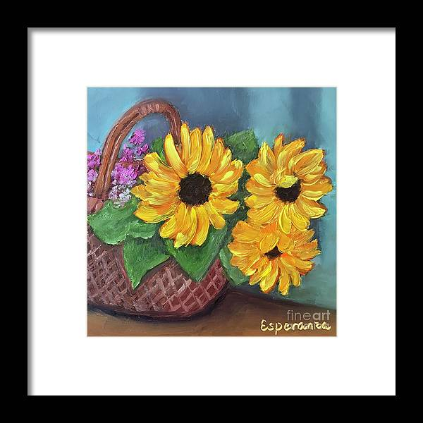 Sunflower Painting Framed Print featuring the painting Sunflower Basket by Esperanza Arato