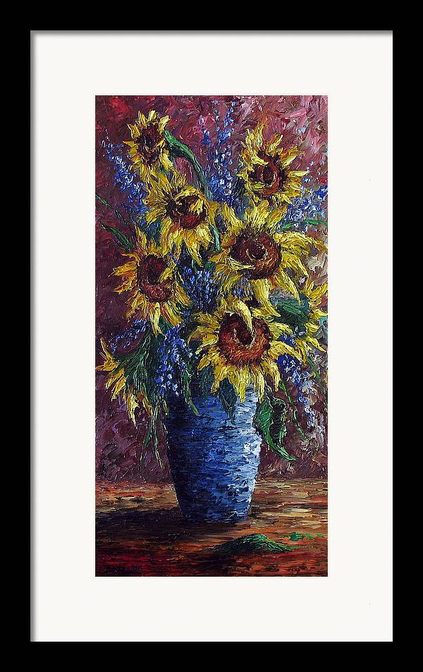 Flowers Framed Print featuring the painting Sunflower Bouquet by David G Paul
