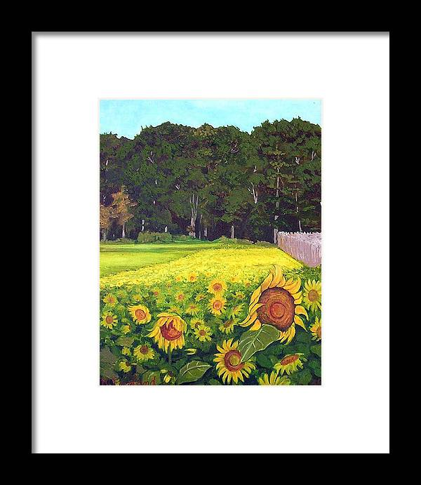 Sunflowers Summer Field Farm Impressionist Landscape Framed Print featuring the painting Sunflower Field by Hilary England