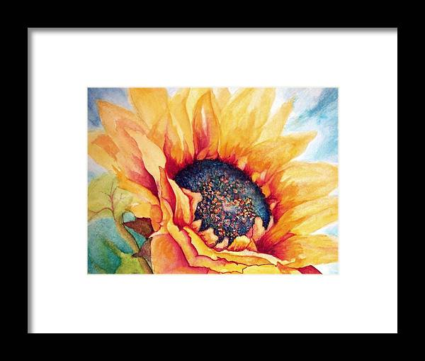 Sunflowers Framed Print featuring the painting Sunflower Joy by Janine Riley