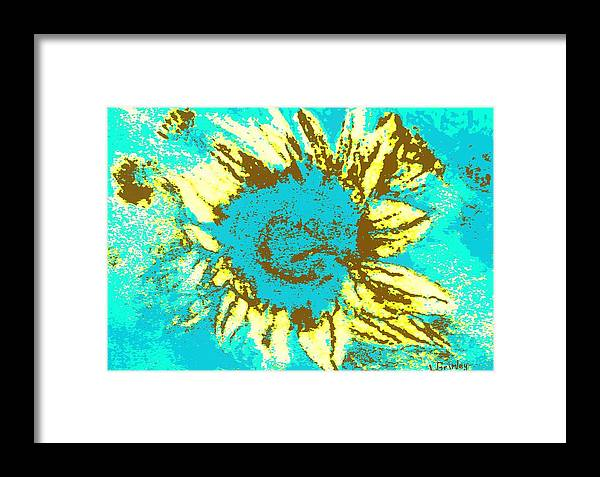 Flower Framed Print featuring the mixed media Sunflower by Lessandra Grimley