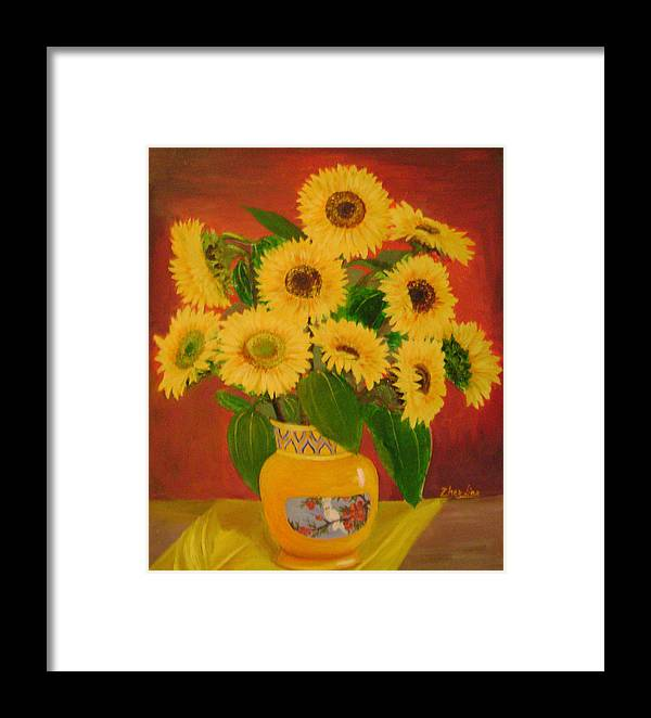 Floral Framed Print featuring the painting Sunflower by Lian Zhen