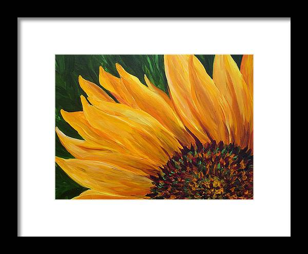 Sunflower Framed Print featuring the painting Sunflower Oil Painting by Mary Jo Zorad