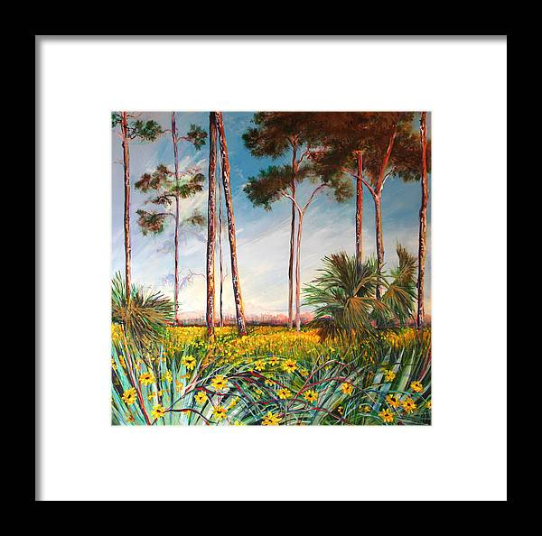 Florida Landscape Sunflowers Framed Print featuring the painting Sunflower Revival by Michele Hollister - for Nancy Asbell