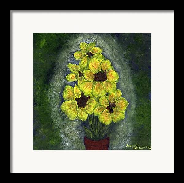 Flowers Framed Print featuring the painting Sunflower Season - Www.jennifer-d-art.com by Jennifer Skalecke
