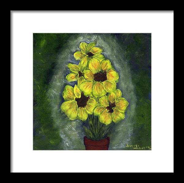 Flowers Framed Print featuring the painting Sunflower Season - Www.jennifer-d-art.com by Jennifer Skalecke