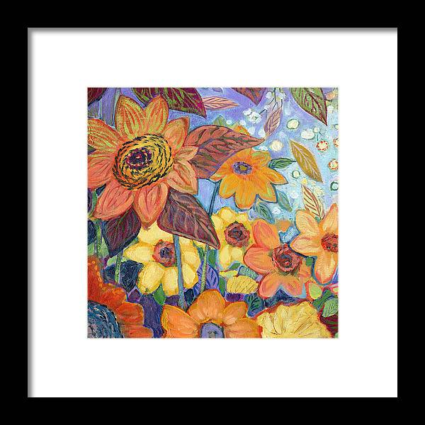 Sunflower Framed Print featuring the painting Sunflower Tropics Part 1 by Jennifer Lommers