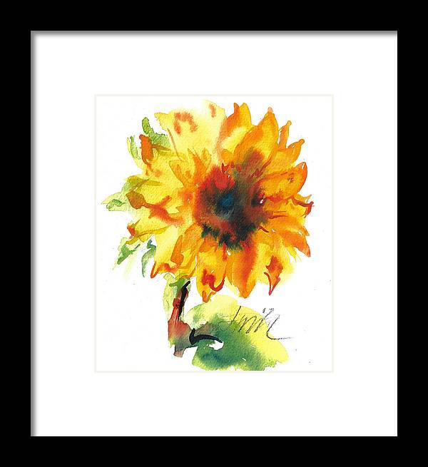 Floral Framed Print featuring the painting Sunflower With Blues by Jacki Kellum