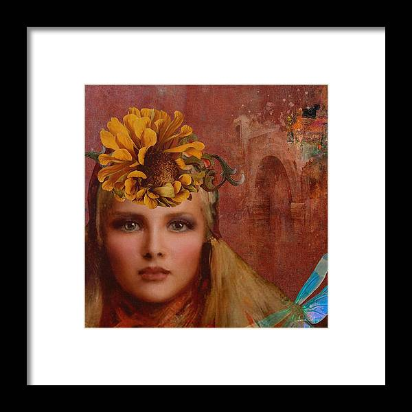 Woman Framed Print featuring the painting Sunflower Woman by Laura Botsford