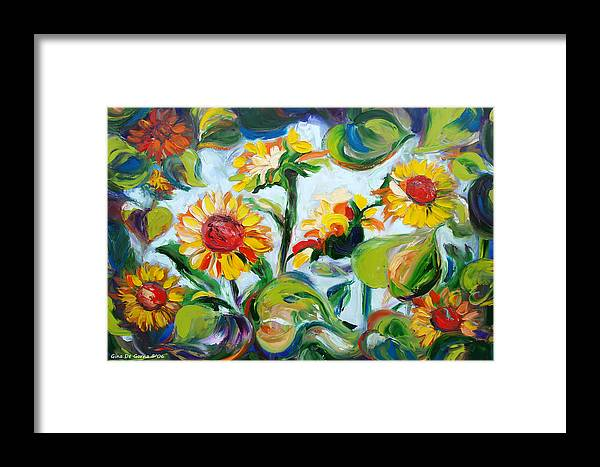 Sunflowers Framed Print featuring the painting Sunflowers 3 by Gina De Gorna