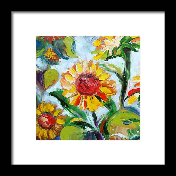 Flowers Framed Print featuring the painting Sunflowers 6 by Gina De Gorna
