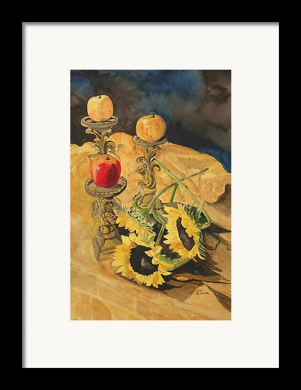 Still Life Framed Print featuring the painting Sunflowers And Apples by Jean Blackmer