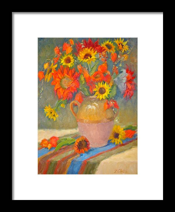Sunflowers Framed Print featuring the painting Sunflowers And More by Bunny Oliver
