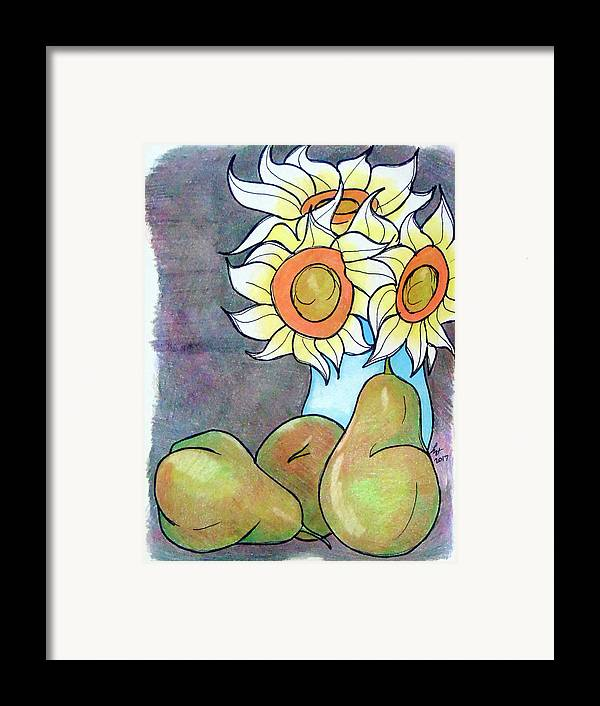 Sunflowers Framed Print featuring the drawing Sunflowers And Pears by Loretta Nash