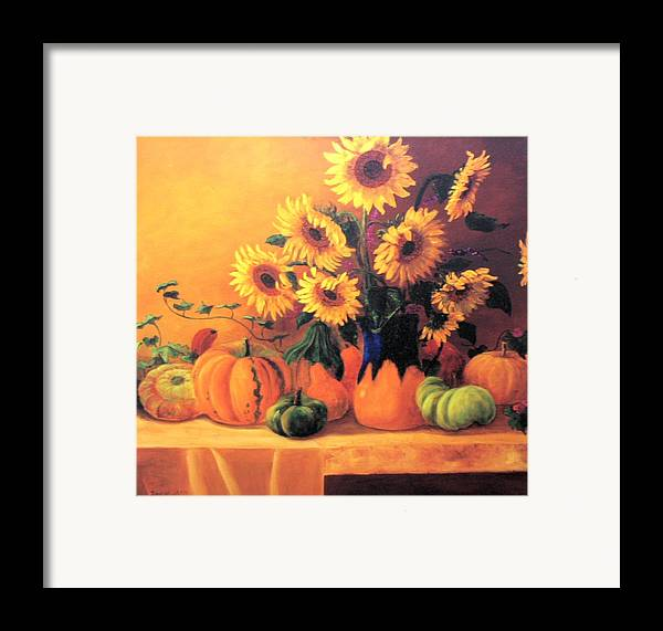 Sunflowers Framed Print featuring the painting Sunflowers And Squash by Jeanene Stein