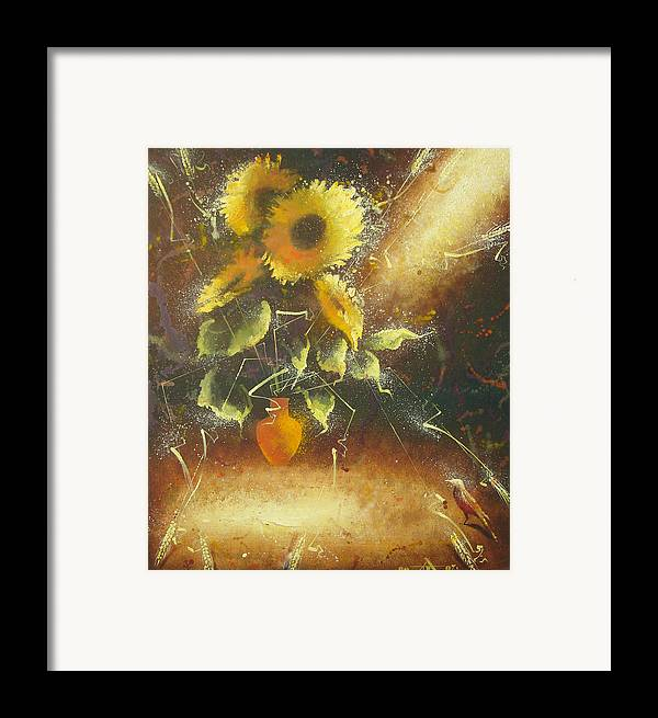 Still Life Framed Print featuring the painting Sunflowers by Andrej Vystropov