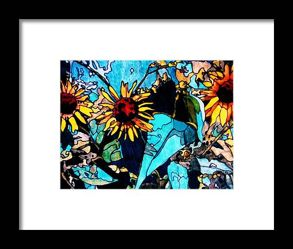 Sunflowers Framed Print featuring the painting Sunflowers Blue by Tom Herrin