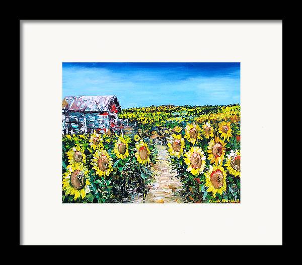 Art Framed Print featuring the painting Sunflowers by Claude Marshall