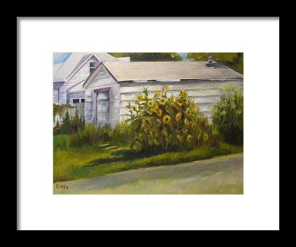 Landscape Framed Print featuring the painting Sunflowers by Courtney Weed