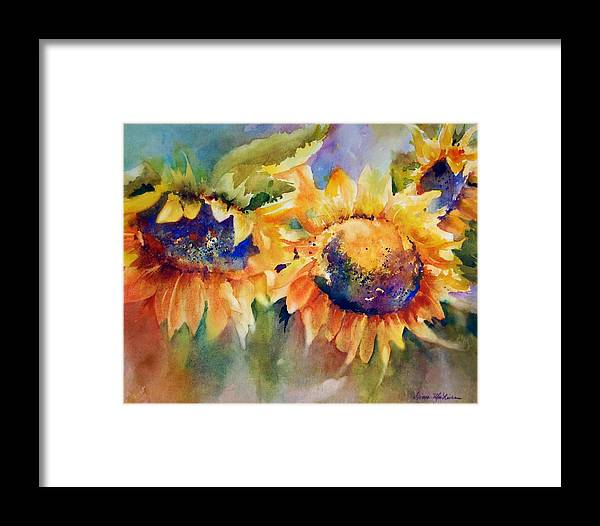 Sunflower Framed Print featuring the painting Sunflowers by Donna MacLure