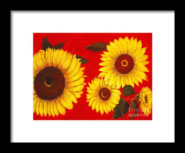 Flowers Framed Print featuring the painting Sunflowers IIi by Mary Erbert