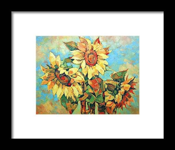 Sunflowers Framed Print featuring the painting Sunflowers by Iliyan Bozhanov