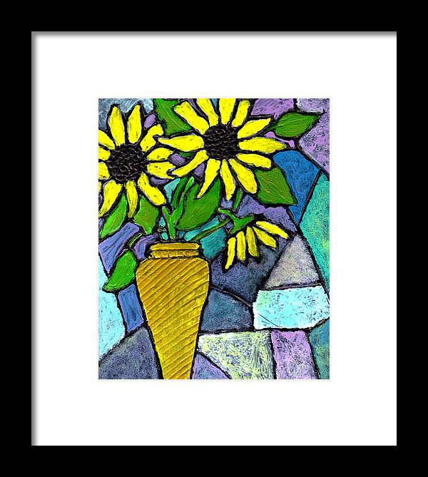 Flowers Framed Print featuring the painting Sunflowers In A Vase by Wayne Potrafka