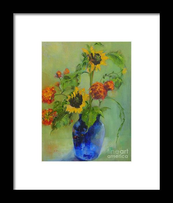 Contemporary Floral Framed Print featuring the painting Sunflowers In Blue     Copyrighted by Kathleen Hoekstra