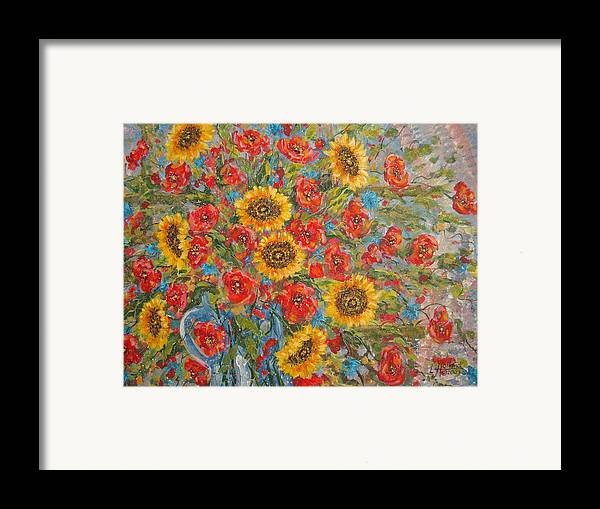 Flowers Framed Print featuring the painting Sunflowers In Blue Pitcher. by Leonard Holland