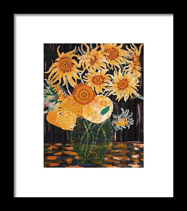 Flowers Framed Print featuring the painting Sunflowers In Clear Vase by Brenda Adams