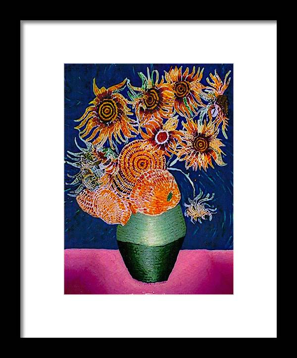 Still Life Framed Print featuring the painting Sunflowers In Green Vase by Brenda Adams