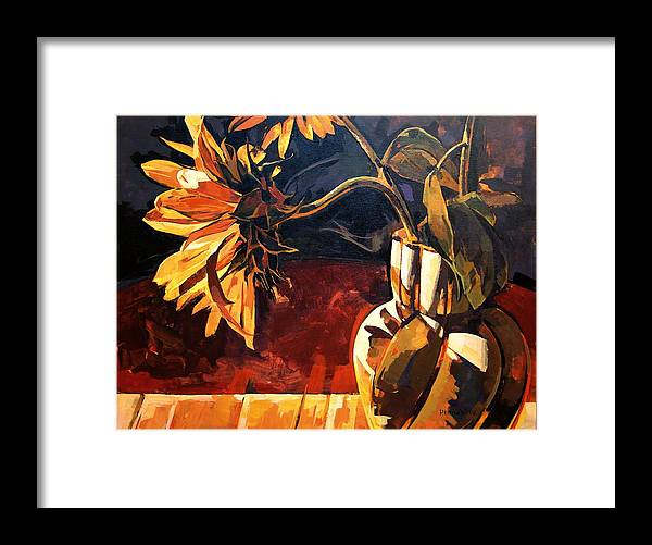 Canadian Framed Print featuring the painting Sunflowers In Italian Vase by Tim Heimdal