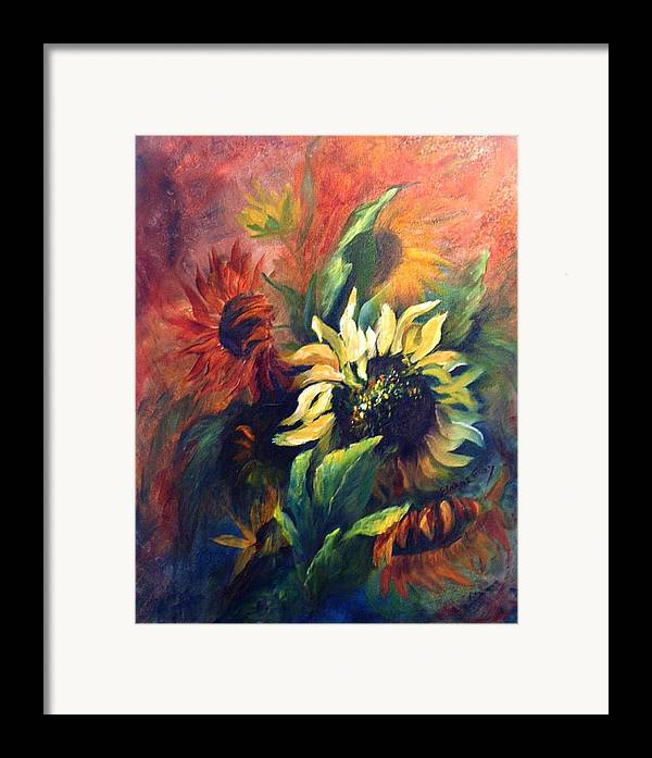 Sunflower Framed Print featuring the painting Sunflowers In Red by Elaine Bailey