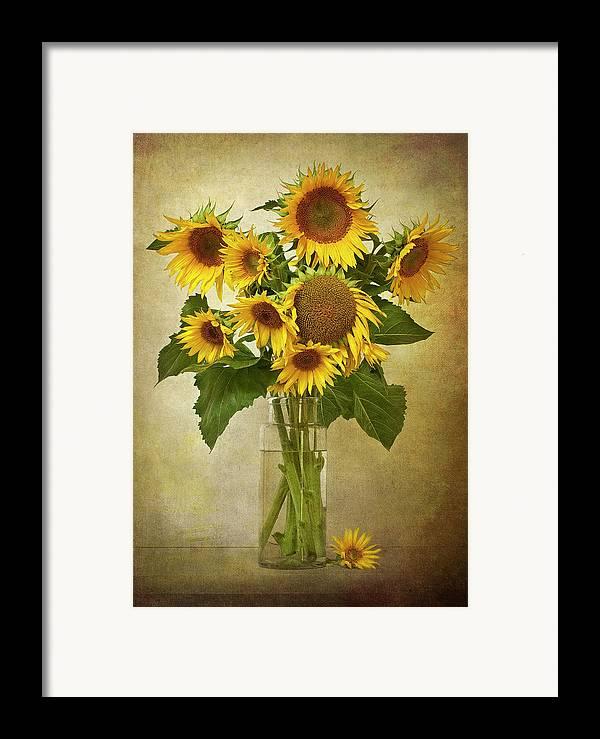 Vertical Framed Print featuring the photograph Sunflowers In Vase by © Leslie Nicole Photographic Art